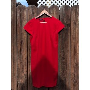 Mango Red Open Back Shift Dress sz Small